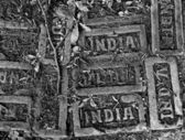 Himalaya. Bhutan. Paro. Footpath, old bricks with India stamp. — Stock Photo