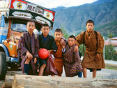 Himalaya. Tibet. Bhutan. Paro. Football team. — Stock Photo