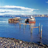Boats and jetty, Ushuaia, Argentina — Stock Photo