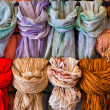 Scarves for sale, close up — Stock Photo