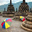 Colourful umbrellas, Borobudur Buddhist temple, Java, Indonesia — Foto de stock #30572163