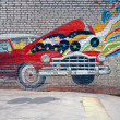 Graffiti of car on brick wall, Moscow, Russia — Stock Photo