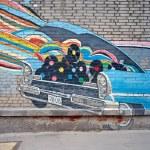 Graffiti of car on brick wall, Moscow, Russia — Stock Photo