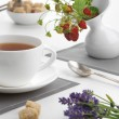 Cup of tewith wild strawberries and lavender — Stock Photo #33263027