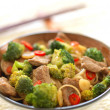 Garlic beef and broccoli with noodles — Stock Photo #33263037