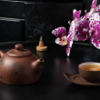 Traditional Chinese teapot and cup with orchid flowers — Stock Photo #33263087