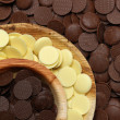 Stock Photo: White, milk and dark chocolate discs