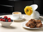 Coffee, fruit and homemade biscuits — Stock Photo