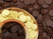 White, milk and dark chocolate discs — Stock Photo
