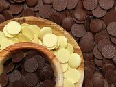 White, milk and dark chocolate discs — Stock Photo