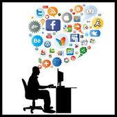 社交网络的思考 — 图库矢量图片