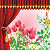 Vektorové červené závěsy a tulipány — Stock vektor