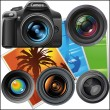 Vector lenses and camera — Stock Vector
