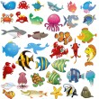Vector sea animals cartoon — 图库矢量图片