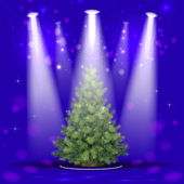 Christmas tree in the spotlight — Stock Vector
