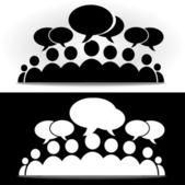 Black and white social community forum — Stock Vector