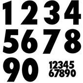 The numbers from 1 to 0 on a white background — Stok Vektör