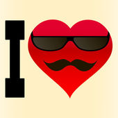 Background I love glasses and mustache — Stok Vektör