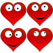 Heart funny emoticons — Stock Vector