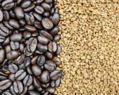 Coffee beans and instant — Stock Photo