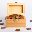 Chest full of euro cents — Stock Photo