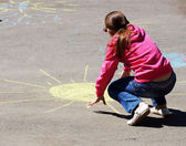 Drawing on asphalt — Stockfoto