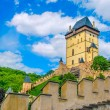 Karlstejn castle on green hill, Prague — Stock Photo