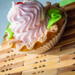 Colored cupcake on napkins in sunlight — Stok fotoğraf