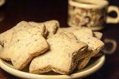 Estrellas de café y galletas — Foto de Stock