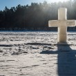 Ice christian cross — Stock Photo