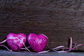 在木材上的心 — 图库照片