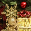 Gold Christmas gift and decoration — Stockfoto