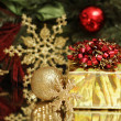 Gold Christmas gift and decoration — Stok fotoğraf