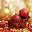 Christmas decorative balls in a sleigh — Stock Photo