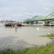 Danube river flood in town of Komarom, Hungary, 5th june 2013 — Stock Photo