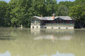 Spartacus Boathouse Flooded by River Raba in Gyor, Hungary — Stock Photo
