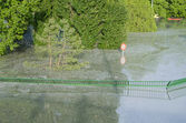Flooded Green Fence — Stock Photo