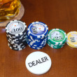 Stock Photo: Poker Dealer Button and Casino Tokens