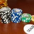 Stock Photo: Poker Dealer Button and Casino Tokens Horizontal