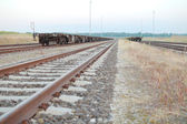 Railway Tracks with Empty Open Wagons Front — Stock Photo
