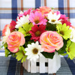 Multicolored flowers in a vase — Stock Photo