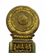 Thammachak, rowel Symbols of Buddhism in Thai temples. — Stock Photo