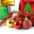 Christmas ball with christmas decoration — Stock Photo