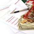 Stock Photo: Holiday budget with money
