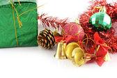 Gouden bellen kerstdecoratie — Stockfoto