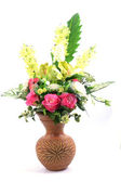 Flowers in vase isolated — Stock Photo