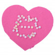 Love word on pink heart — Stock Photo