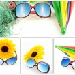 Sunglasses have a sky on holiday collection — Stock Photo