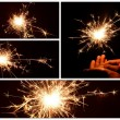 Stock Photo: Christmas and newyear party sparkler collection