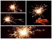 Christmas and newyear party sparkler collection — Stock Photo